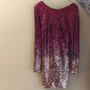low back long sleeve sequin dress